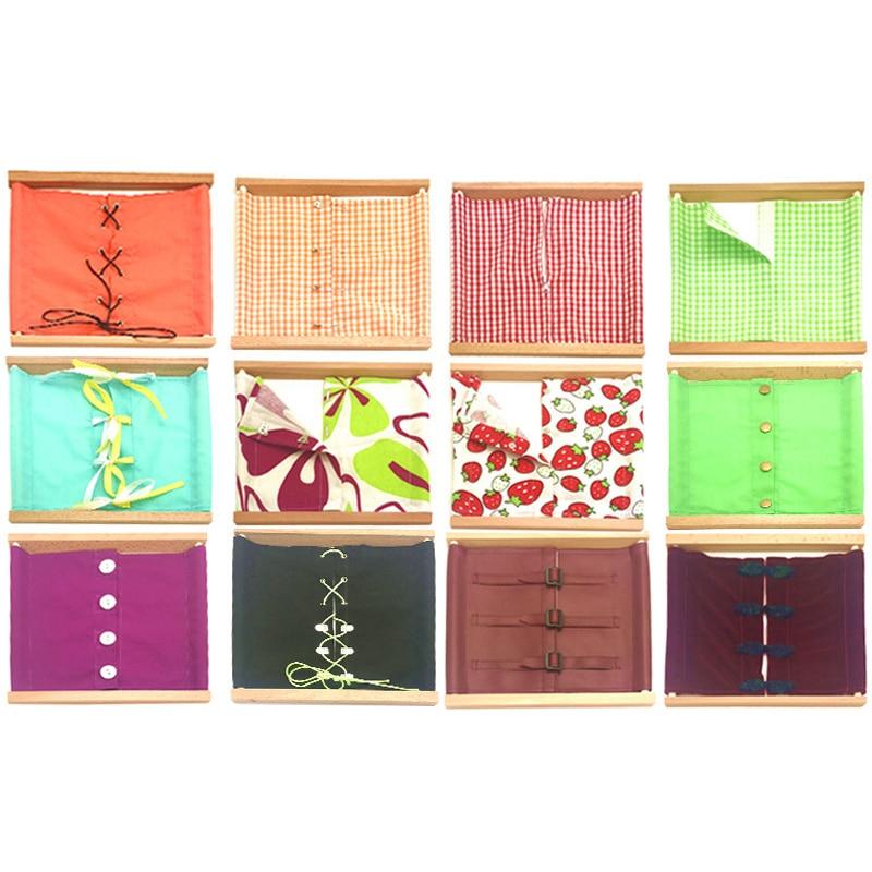 Envío gratis materiales Montessori ropa lazo encaje cremallera gancho haya madera vida diaria juego de simulación preescolar educación temprana