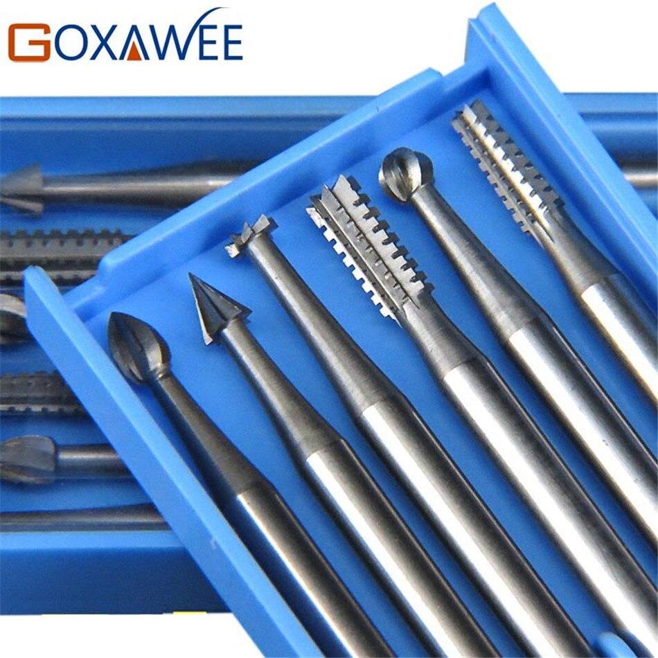 GOXAWEE 6pcs Burs For Dremel Power Tool Accessories Rotary Bur Rotary Tools 009#/014#/018#/023# Steel Burs Abrasive Tool
