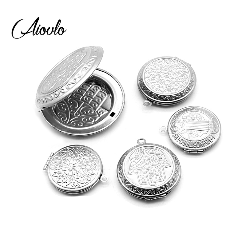 Stainless Steel Carved Designs Round Photo Frame Pendant Necklace Charms Locket Necklaces Women Men Jewelry Making Supplies