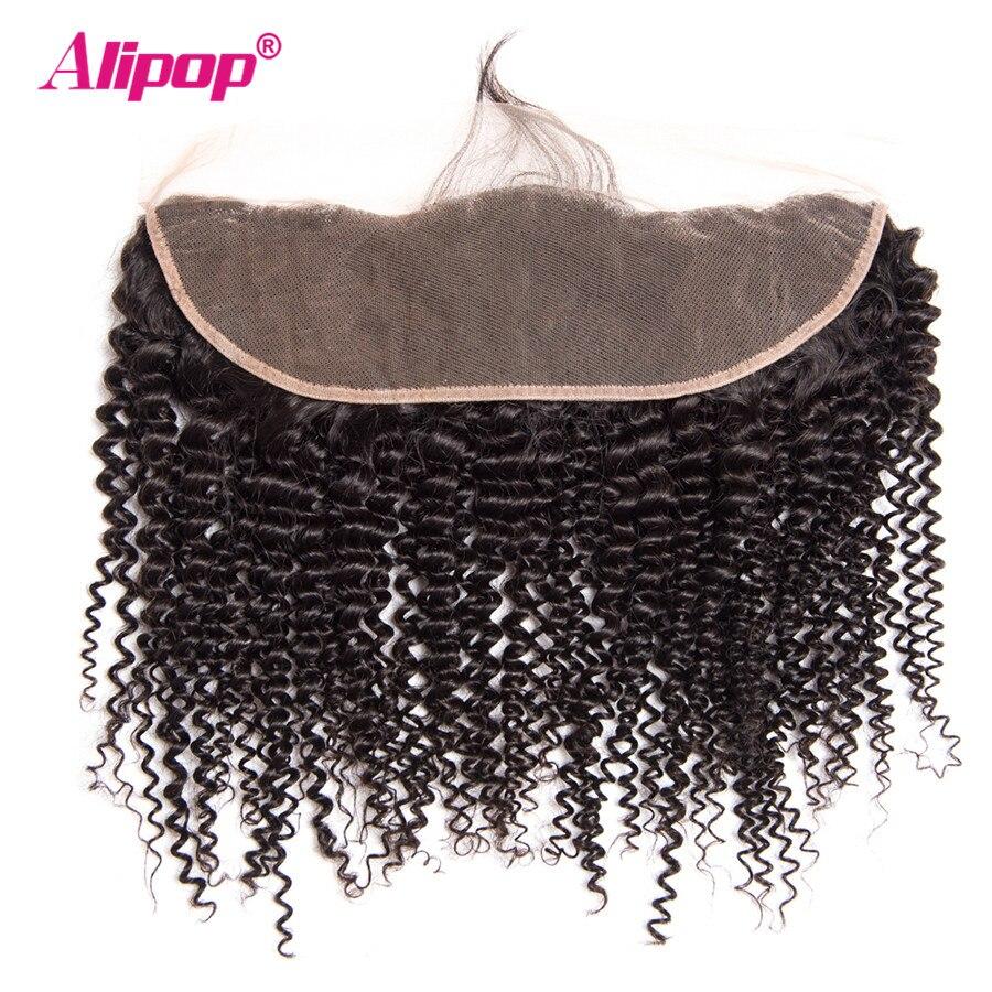 Kinky Curly Brazilian Hair Weave Bundles Lace Frontal Closure With Bundles Human Hair 3 Bundles With Closure ALIPOP Remy 4PCS