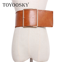 New Arrival Winter PU Women Waistband Belts Fashion Solid Wide for Overcoat Dress High Quality Female TOYOOSKY