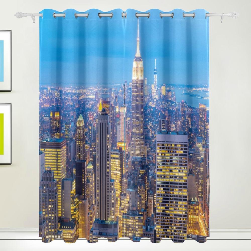 Open Window At Dusk: New York City Skyscrapers Dusk Curtain Drapes Panels