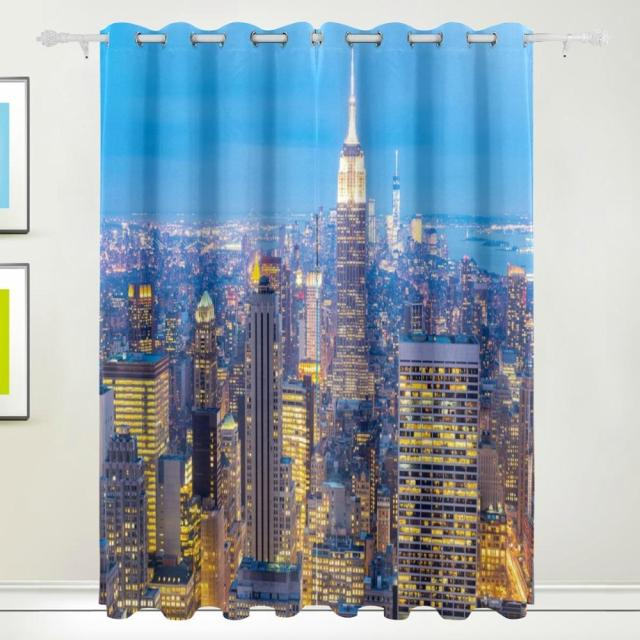 New York City Skyscrapers Dusk Curtain Drapes Panels Darkening