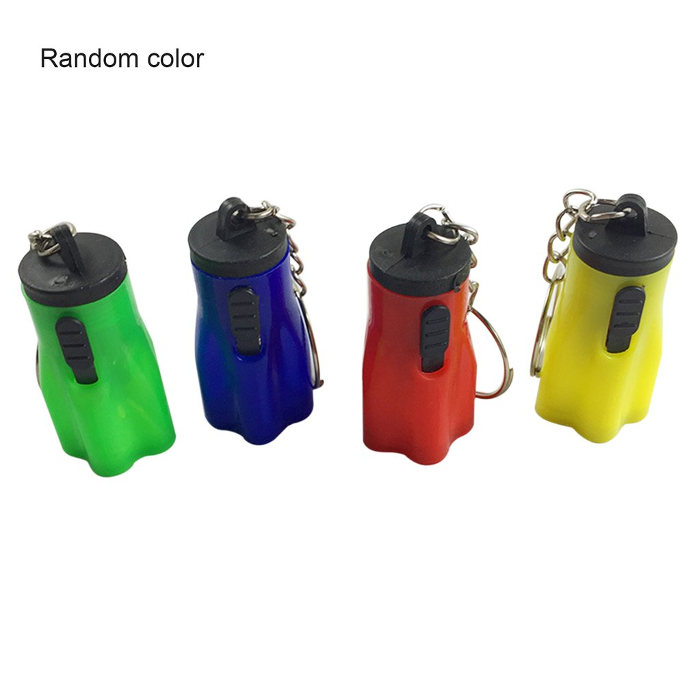 1pcs mini LED Keychain Flashlight Key Chain Hand Torch Keyring Portable Light Lamp Emergency Plastic Button Cell Powered Plum