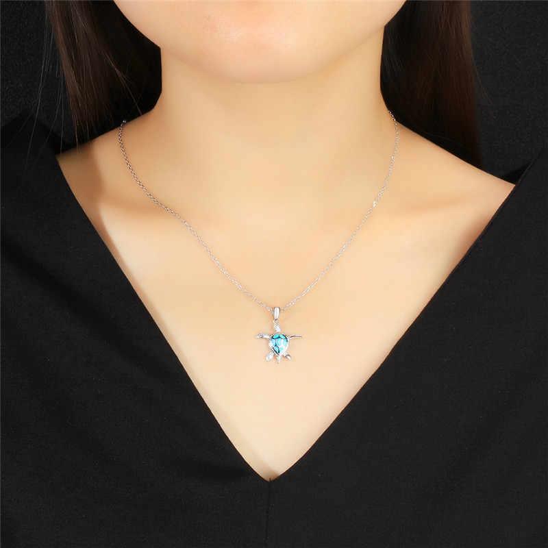 Marcatsa 925 Sterling Silver Blue Opal Crystal Sea Turtle Chain Pendants Necklaces For Women Animal Wedding Ocean Beach Jewelry