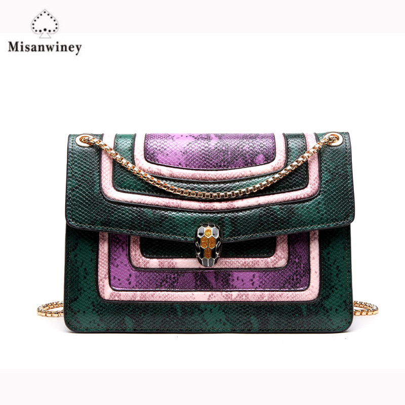 Misanwiney  Women bag New fashion handbag PU Leather serpentine color panelled women Messenger Bags yuanyu 2018 new hot free shipping real python skin snake skin color women handbag elegant color serpentine fashion leather bag