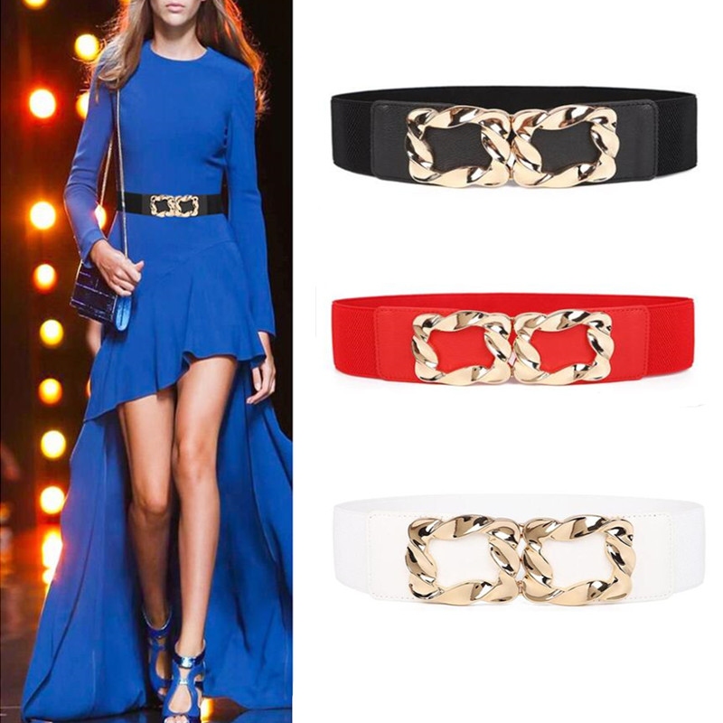 Black Hot Sale Women Fashion Wide Elastic Waistbands Stretch Corset Alloy Gold Square Buckle Waist Belts For Dress Accessories