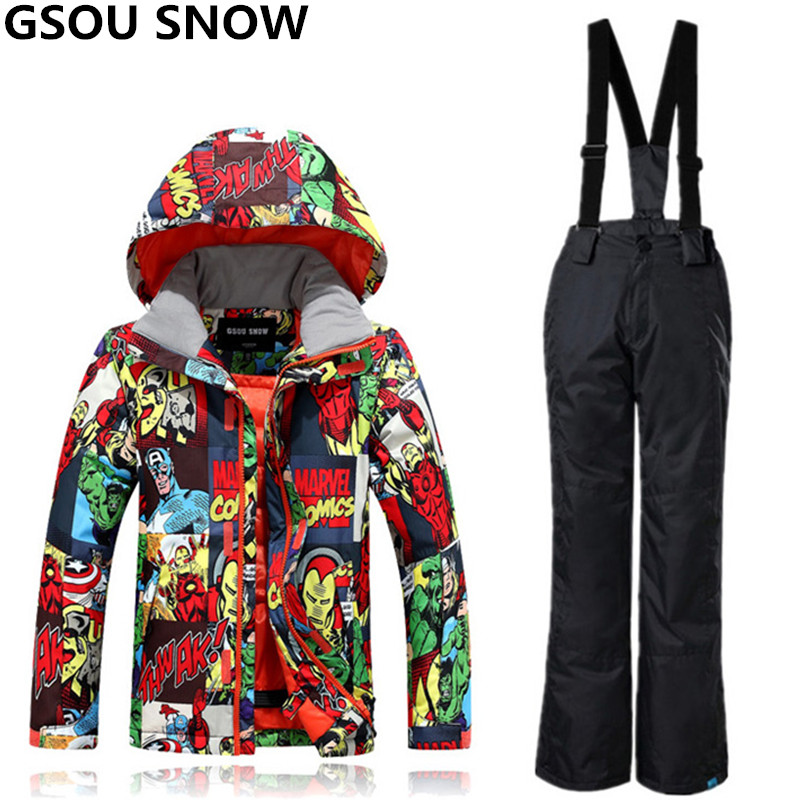 GSOU SNOW Winter Ski Suit For Boys Girls Waterproof Windproof Kids Snowboarding Suits Super Warm Outdoor Skiing And Snowboarding free shipping the new 2017 gsou snow ski suit man windproof and waterproof breathable double plate warm winter ski clothes