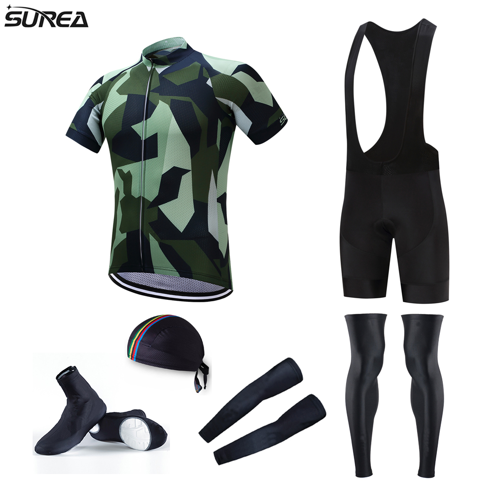 Surea Pro Team Cycling Jersey Full Set Army Green Cycling Jerseys Sets with Bicycle Bib Shorts and Leg Warmer MTB Ropa Ciclismo hot cheji women mtb bike jerseys shorts sets female pro team cycling clothing suits white summer bicycle shirts sportswear top
