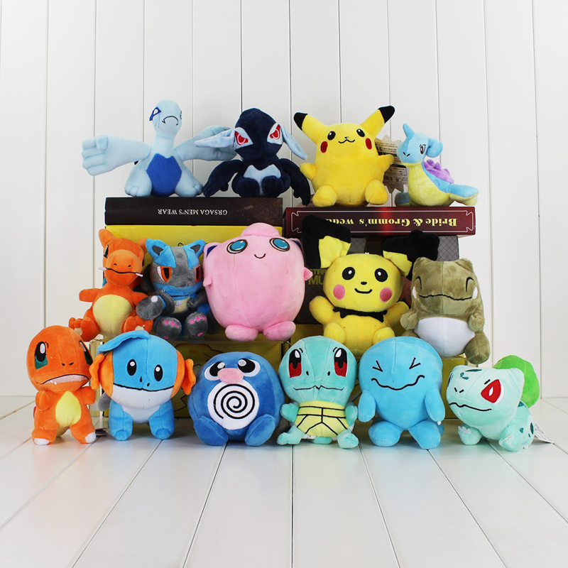 15pcs lot Jigglypuff Charmander Pichu Bulbasaur Charizard Squirtle Lugia Mudkip Lapras Mini Plush Toy Stuffed Dolls
