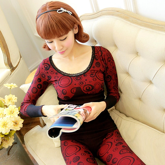 High Round Neck Lace Seamless Body Thermal Underwear Sets Cotton Sweaters Bottoming Female Body Sculpting