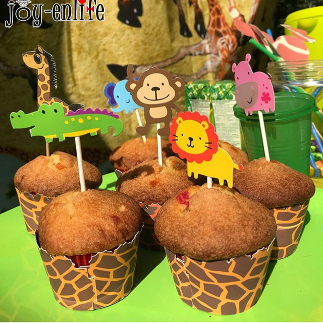 7pcs Jungle Safari Animals Party Cake Toppers Picks Zoo Theme Happy Birthday Flags Kids