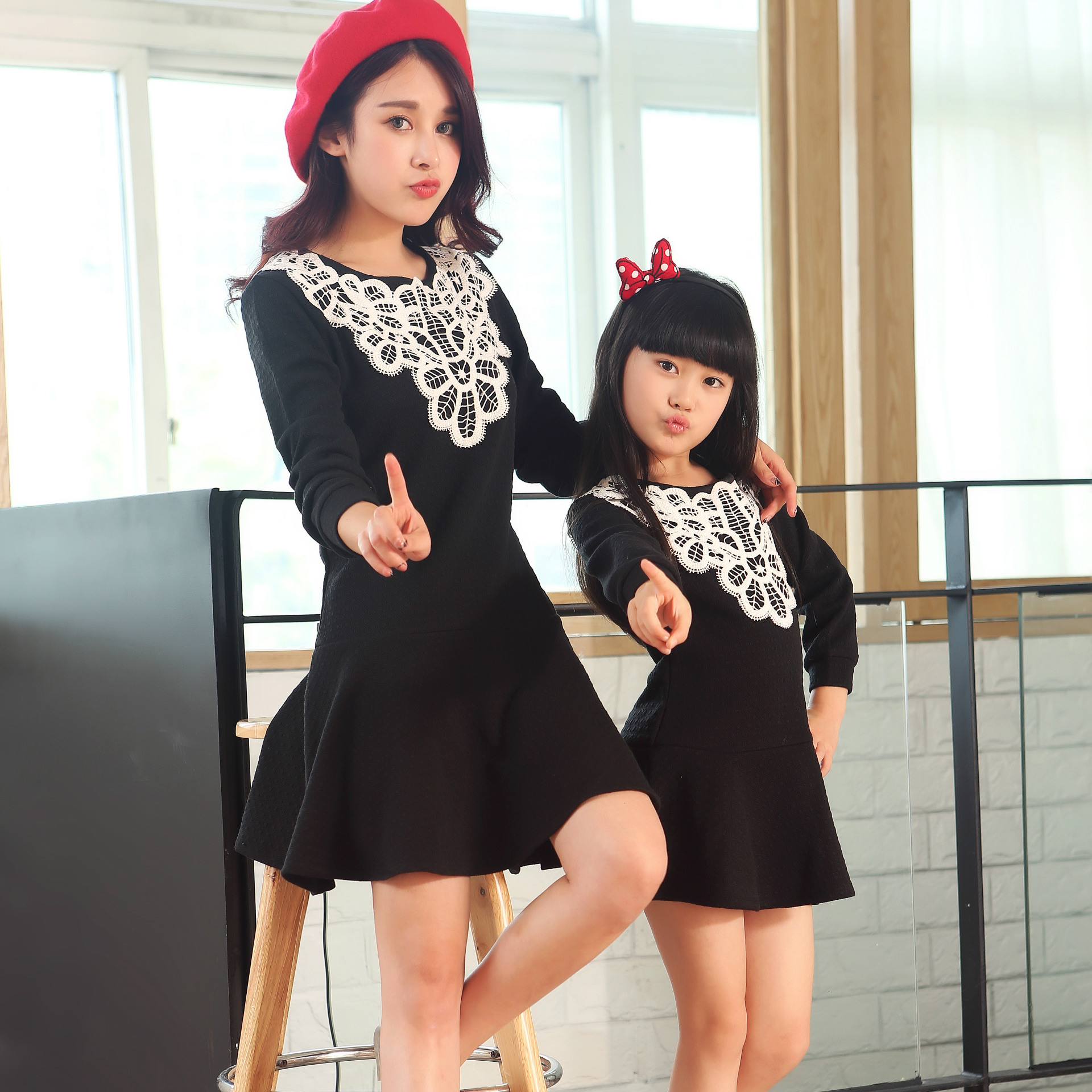 Black dress korean - Mother Daughter Dresses Summer Style Family Clothing 15862015 New Autumn Korean Retro Dress Child To Wear