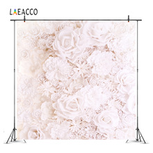 Laeacco 3D Blooming Pure Flowers Wall Photography Backgrounds For Photo Studio Vinyl Custom Camera Photographic Backdrops Props