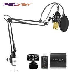Professional condenser microphone bm 800 for computer and studio recording microphone 48v phantom power USB sound card Webcam