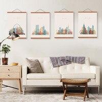 Resumen Ciudad Moscú Londres Nueva York Lienzo Enmarcado De Madera Arte de La Pared Pinturas Decoración del Hogar de la Vendimia Grande Imprimir Imágenes Cartel de Desplazamiento