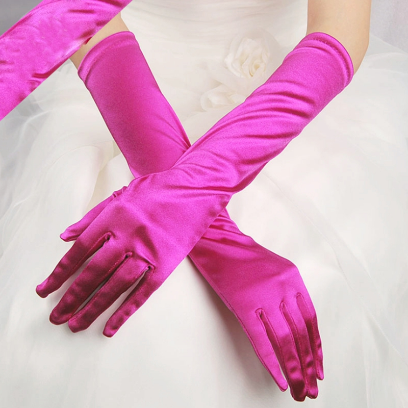 Satin Long Finger Elbow Sun Protection Gloves Opera Evening Party Prom Costume Fashion Gloves Black Red White Purple Pink Women