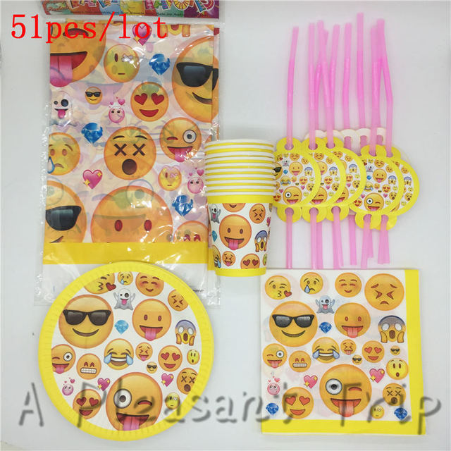 51pcs Lot Emoji Birthday Party Tablecloth Baby Shower Tray Smiling Face Set Accessories 10 People