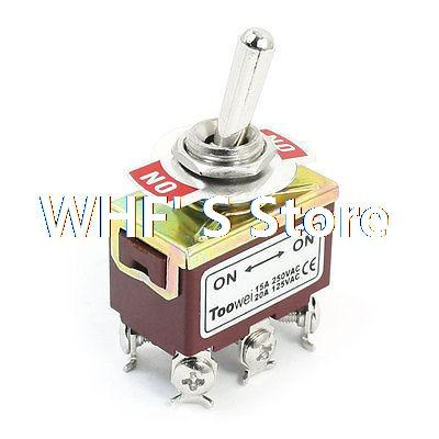 ON/ON 6 Screw Terminals Latching Power Control Toggle Switch AC 125V 20A T702BW 660v ui 10a ith 8 terminals rotary cam universal changeover combination switch