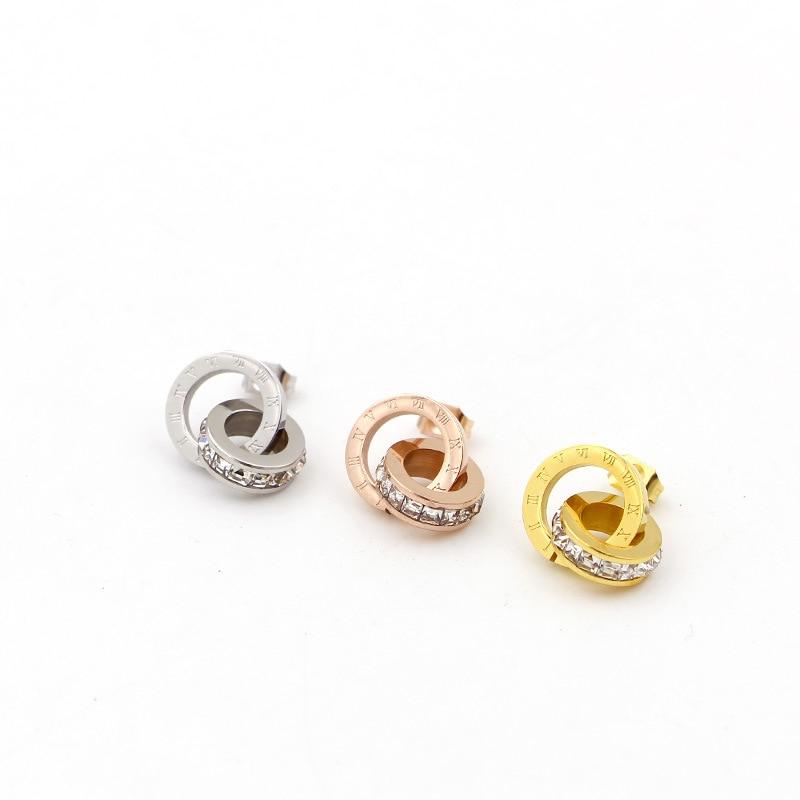Nye super flash små krystal romerske digitale dobbeltringeøreringe - Mode smykker - Foto 6