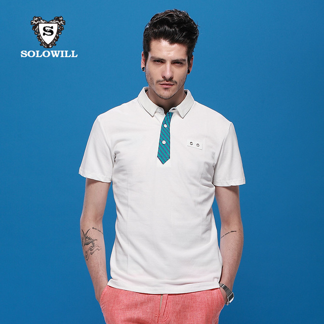 1b84c181 solowill summer new men's short-sleeved T-shirt POLO shirt fake tie white  short-sleeve Polo Shirts Paul