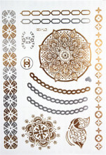 Hot Flashes Gold Silver Metal Waterproof Henna Tattoos Women With Colourful Wrist Bracelet Temporary Tattoos