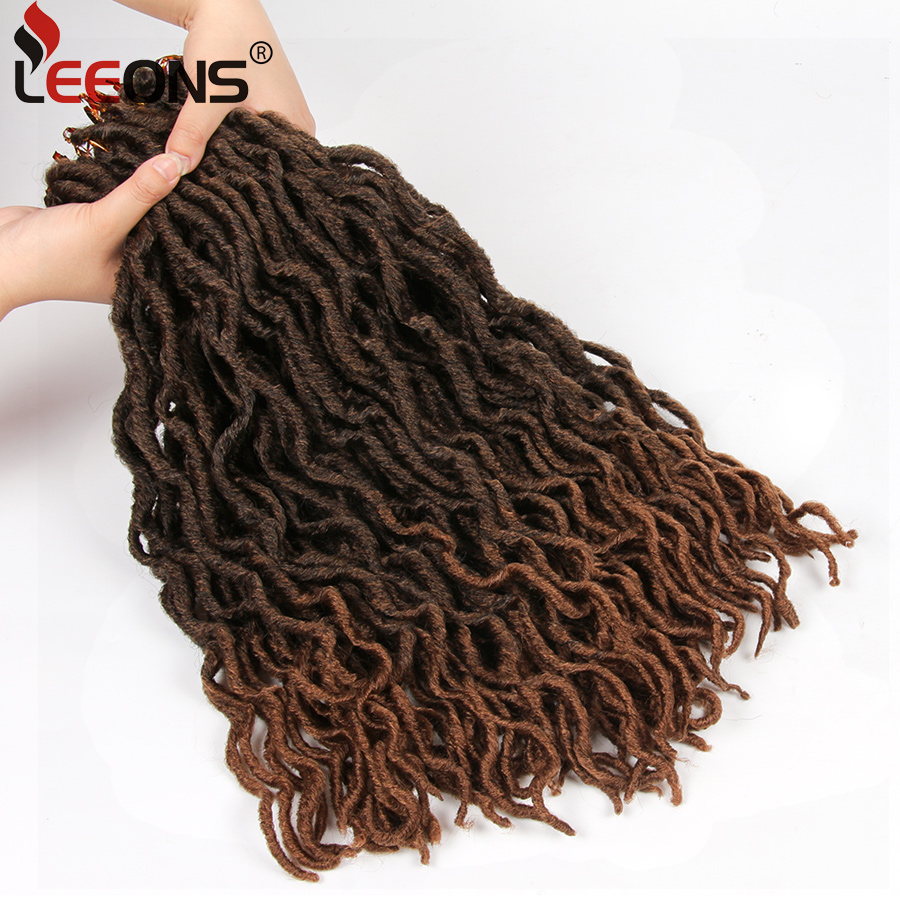 Leeons Faux Locs Curly Crochet Hair 12/18 Inch Nu Locs Ombre Braiding Hair Extension Crochet Braid Synthetic Locs Brown Hair