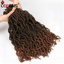 Leeons Faux Locs Curly Crochet Hair 12/18 Inch Nu Locs Ombre Braiding Hair Extension Crochet Braid Synthetic Locs Brown Hair vogue twisted rope braid silver ombre white long synthetic hair extension for women