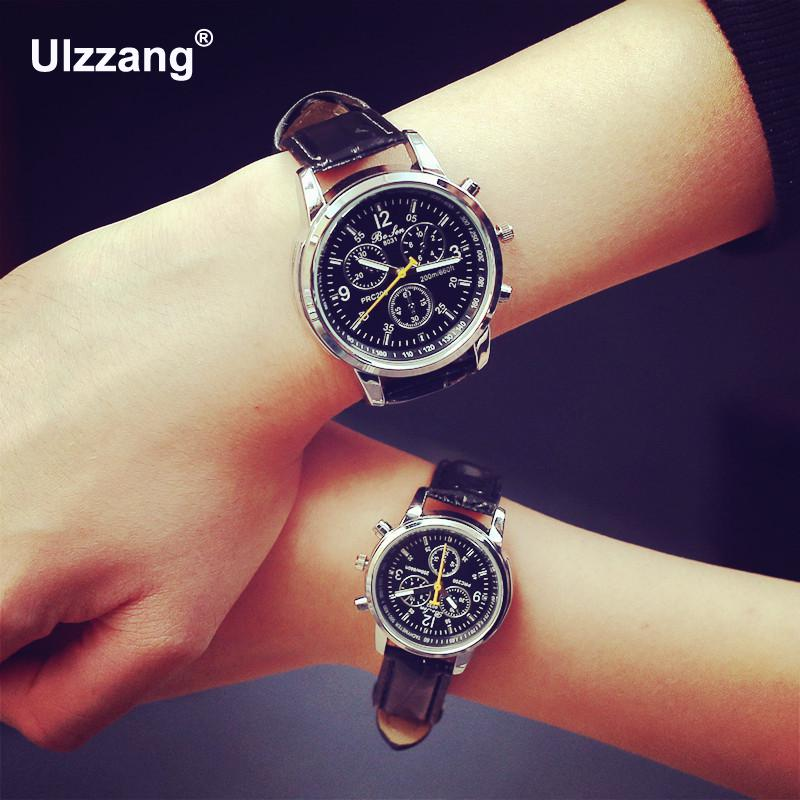 New Quartz Men Watches Unisex Fashion&Casual Luxury 3 Eyes PU Leather Business Watch Men Women Male Girl Lovely Wristwatch