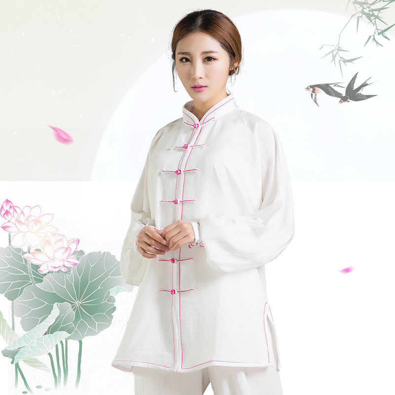 Spring Summer Natural Cotton And Linen Tai Chi Suit Long Sleeve  Close Skin Soft Uniforms