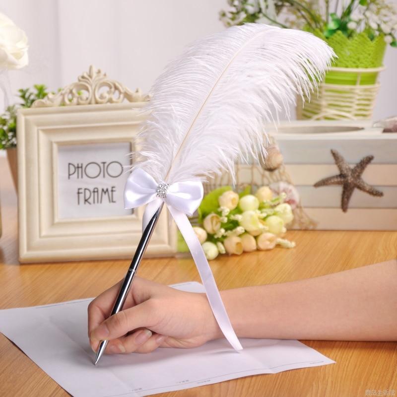1PCS Feather Ballpoint Pen Ostrich Plush Cute Wedding Sign In Office Signature Metal Caneta Black Canetas Refill Romantic Gift