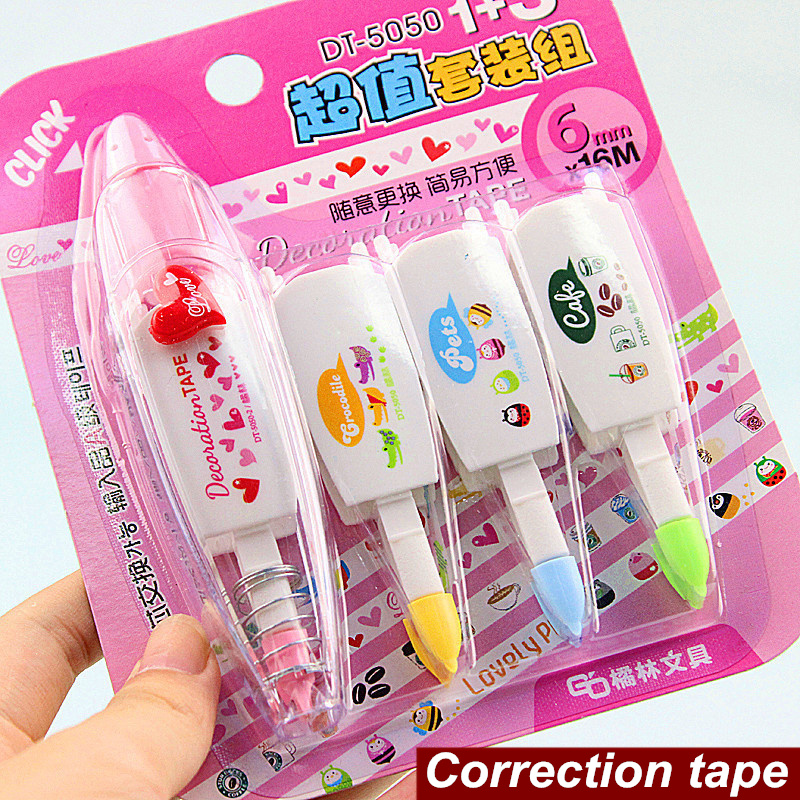 4 pcs value set Correction tapes Lovely decoration tape Click corrective tape Stationery corretivo escolar School supplies 6578 цена и фото