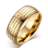 Tungsten Steel Rings Men S Heart Scriptures Tungsten Steel Rings Buddhist Tungsten Gold ColorRings Wholesale TCR
