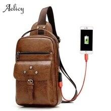 Aelicy Vintage Crossbody bolsos hombres cremallera bolsa de cintura sólida bolsos de hombro de cuero pecho bolsa USB con agujero trasero bolso paquetes monedero