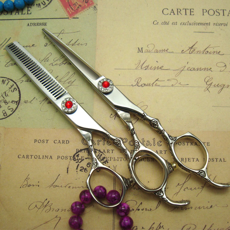 2pcs/set Professional Japanese 440C rose hairdresser scissors 5.5 set high quality hair cutting and thinnig scissors 30 teeth free ship professional hair double thinning scissors thinner high quality teeth shears with 30 teeth 6 japanese 440c