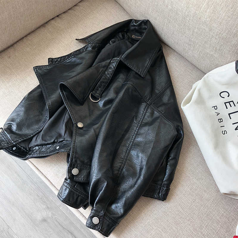Fitaylor Autumn Faux Leather Jacket Turndown Collar Women Loose Long Sleeve Single Breasted Motorcycle Leather Coats