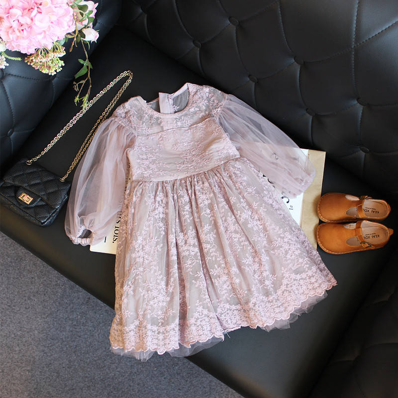 Children Wear Clothes 2018 Spring New Brand Dress Baby Kids Girls Long Sleeve Princess Dress for Children Clothing 2-7 Y GDR358 acthink 2017 new girls formal solid lace dress shirt brand princess style long sleeve t shirts for girls children clothing mc029