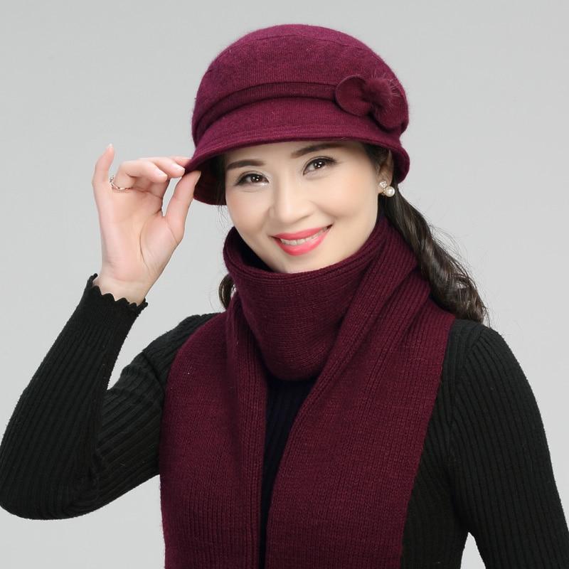 Winter Rabbit Wool Basin Cap Warm Mother Grandma Fashion Fisherman Hat Adult Women Elegant Soft Pure Color All-match Scarf H7156