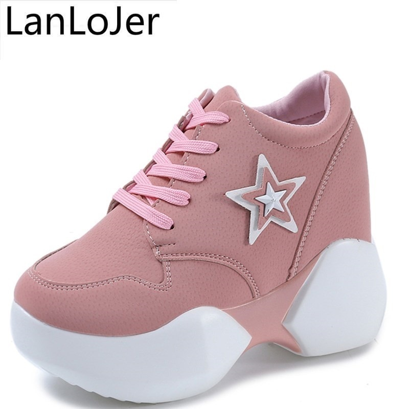 Ladies High Platform Sneakers Shoes 2018 Fashion Hidden Heel Womens Trainers Zapatillas Mujer Plataforma Walking Shoes Women