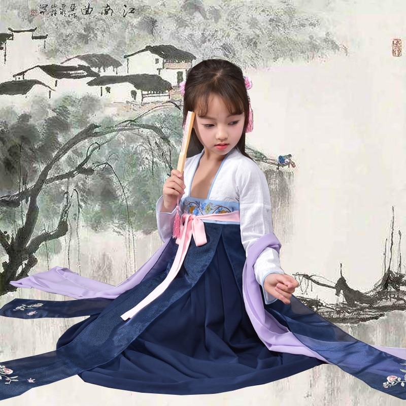 Китайские традиционные Обувь для девочек Hanfu китайское платье древних платье принцессы для детей Hanfu Костюмы династии Тан Фея Косплэй костю...