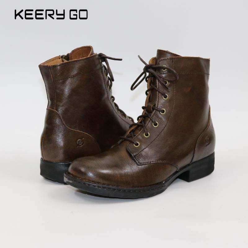 купить Sale of high-end head layer cowhide with 7 holes female boots side zippers fashion female boots A strong aura недорого