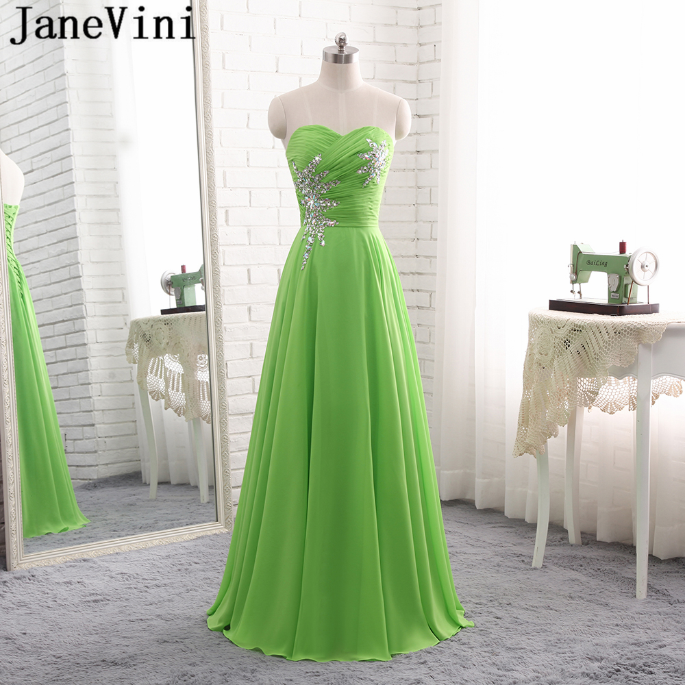 JaneVini Charming Sequined Crystal Chiffon Summer Green Bridesmaid Dresses 2018 A Line Strapless Floor Length Formal Prom Gowns