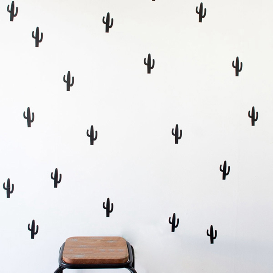 Cactus Vinyl Wall Sticker font b home b font Decoration 30 pcs Cute Cactus pattern wall