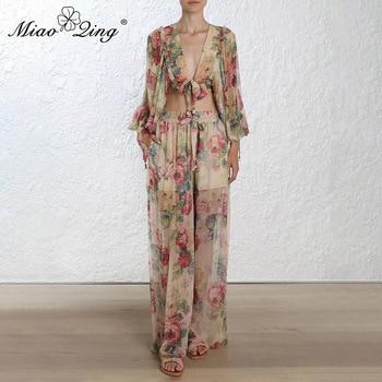 MIAOQING Women's casual print pantsuit women's sensible jacket with trousers two-piece women's fashion spring new 2019