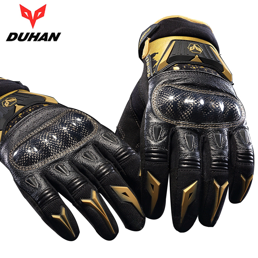 Motorcycle gloves review 2016 - 2016 Model Duhan Ds 03 Motorcycle Gloves Motos Carbon Fiber Gloves Motorsport Outdoor Sports Full Finger Gloves