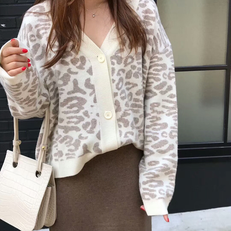 Women Autumn Winter Leopard Cardigan Sweater coat Female Long Sleeve plus size Outer Knitted tops pull Femme jersey sueter 8