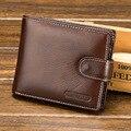 100% cuero genuino para hombre carteras de cuero real tarjeta de cuero de Vaca bolso de los hombres negro corto walet carteras de bolsillo con monedas pequeño embrague