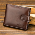100% genuine leather mens wallets real leather purse men black short walet Cowhide card wallets with coin pocket small clutch