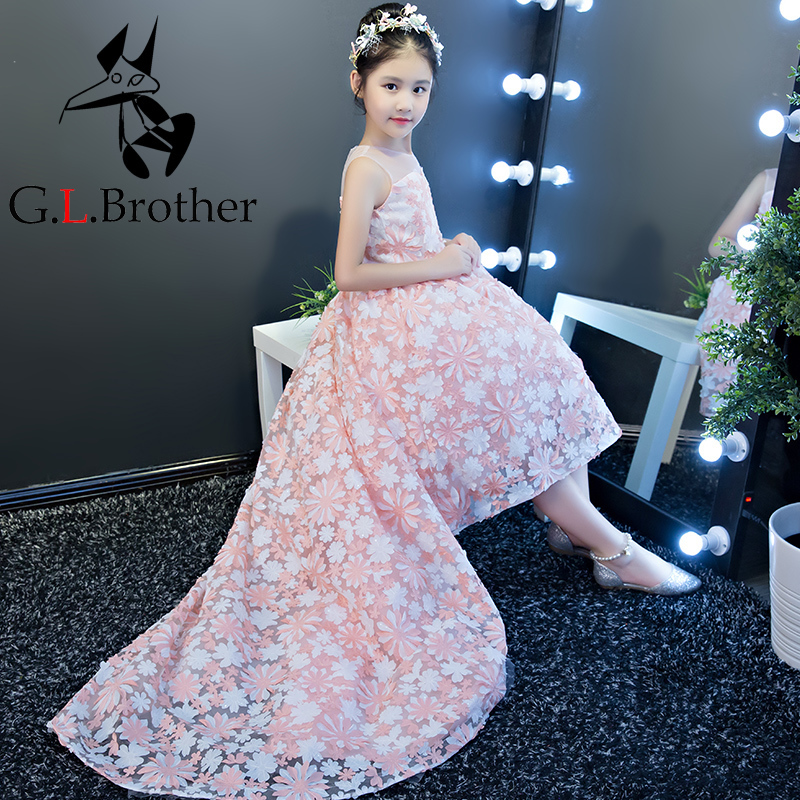 New Arrival Flower Girl Dresses With Tails Gown For Wedding Kids Pageant Dress First Holy Communion Dresses Party Dress 2017 new arrival flower girls dresses for wedding white girl birthday party dress fashion first communion dresses with sashes