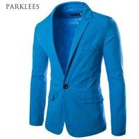 Royal Blue Men Suit 2017 Spring New Linen Suits Men Casual Slim Fit One Button Man
